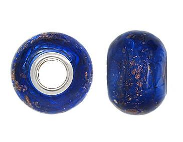 925 Glass Beads Giant - Blue & Gold Specks